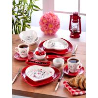 Keramika 14 Parça Kalp 2 Kişilik Kahvaltı Seti Keyfi Aşk