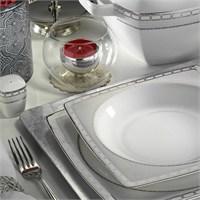 Kütahya Porselen Aliza Bone 83 Parça 66102 Desenli Yemek Takımı