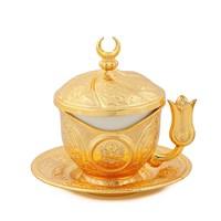 Sena Tiryaki Kahve Fincanı Hilalli Altın Sarı (6'Lı Paket)
