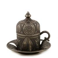Sena Tuğra Porselenli Kahve Fincanı Nikel