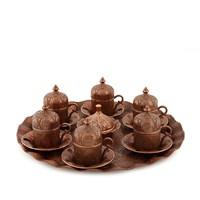 Sena Tuğra 6'Lı Kahve Seti Antik Bakır