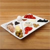 Lucena New Dokuz Bölmeli Yumurtalıklı Kahvaltı Tabağı - Beyaz