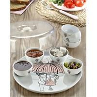 Keramika Set Hıtıt Kahvaltı 9 Parça Beyaz 004 Pink Love Keramira A