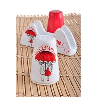 Keramika Set Tuzluk Biberlik Ada Peçetelik Platin 3 Parça Beyaz 004-Kırmızı 506 Red Love Keramira A