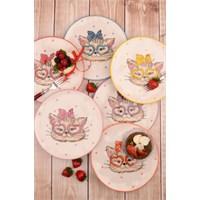 Paşahome 6'Lı Renkli Sevimli Kedili Lüx Pasta Servis Seti