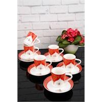 Paşahome Porselen Altn Yaldızlı Lüx 6 Kişilik Kahve Fincan Takımı