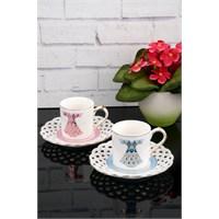 Paşahome Nakışlı Kaftan Model Porselen Lüx 2 Kişilik Renkli Kahve Seti