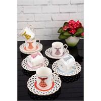Paşahome Nakışlı Kaftan Model Porselen Lüx 6 Kişilik Renkli Kahve Seti