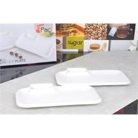 Dearybox Porselen 2'li Dikdörtgen Cips Tabağı