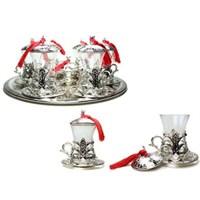 Biyax Ottoman Stil 6 Kişilik Çay Seti