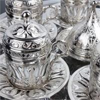 Biyax Ottoman Stil Lale 6 Kişilik Kahve Seti - Gümüş