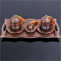 Hepsi Dahice Ottoman Stil Lale Çift Kişilik Kahve Seti Bakır