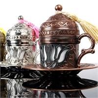 Biyax Ottoman Stil Lale Tek Kişilik Kahve Fincanı Bakır