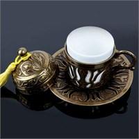 Biyax Ottoman Stil Lale Tek Kişilik Kahve Fincanı Sarı