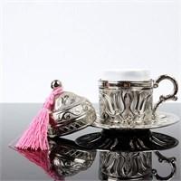 Biyax Ottoman Stil Lale Tek Kişilik Kahve Fincanı Gümüş