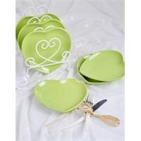 Keramika Tabak Kalp 20 Cm Yeşil 302