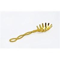 Yargıcı Porselen Metal Altın Renk Servis Kaşığı