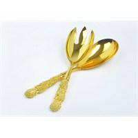 Yargıcı Porselen Metal Altın Renk Servis Takımı 2Li