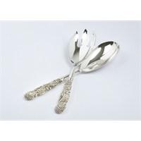 Yargıcı Porselen Metal Gümüş Renk Servis Takımı 2Li