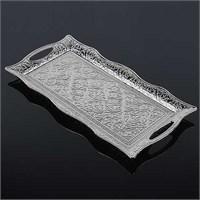 Uygun Osmanlı Motifli 2 Kişilik Servis Tepsisi Gümüş