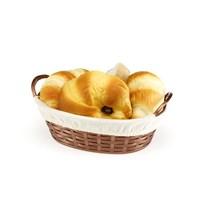 BO664 - Hasır Desenli Ekmek Sepeti Oval - Bez Kaplamalı