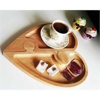 Te Home-Wooden-Kalp 2 Parça Servis Tabağı-Çerezlik