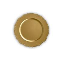 Kancaev Dekoratif Plastik Supla/Tabak Altlığı Dalgalı Yuvarlak Kabartmalı - Altın 6'Lı Set