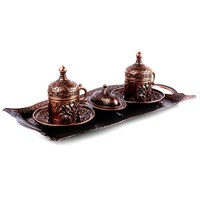 Biyax Ottoman Stil Lale Çift Kişilik Kahve Seti Bakır