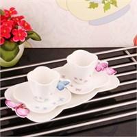 İhouse8005 Porselen Kahve İkram Seti Beyaz
