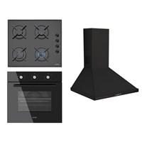 Simfer Plain Black 3'lü Ankastre Set (7031 Grill Statik Fırın + Simfer 3500 Gaz Emniyetli Cam Ankastre Ocak + Simfer 8627 MK 60cm 650m³/s Inox Duvar Tipi Davlumbaz)