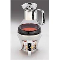 Mat Steel Çay Servis Seti Mum Isıtıcılı