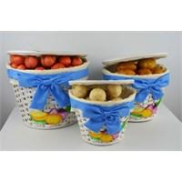 Cosiness Hasır 3'Lü Patates-Soğan Sepeti - Mavi
