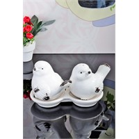 LoveQ Seramik Eskitme Model Kuş Şekilli 2'Li Baharat Takımı