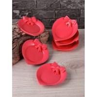 LoveQ Kalp 6'Lı Çay Tabağı Kırmızı