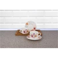 LoveQ Gül Serisi Porselen Çift Kişilik Çay Fincanı 146099