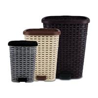 Dünya Plastik Rattan Pedallı Çöp Kovası 3 Lü Set 6+12+26 Lt