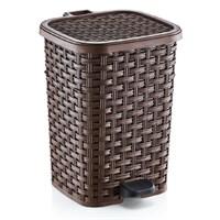 Dünya Plastik Rattan Pedallı Çöp Kovası 6 Lt 232X198x270 Mm