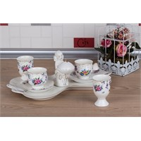 LoveQ Gül Serisi Lokumcu Kız Porselen Çift Kişilik Kahve Fincanı 147288Gu