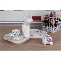 LoveQ Bird Serisi Lokumcu Kız Porselen Çift Kişilik Kahve Fincanı 147291G