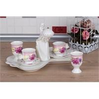 LoveQ Gül Serisi Lokumcu Kız Porselen Çift Kişilik Kahve Fincanı 147329G