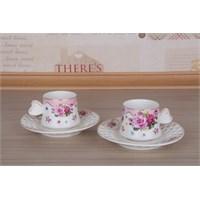 LoveQ Gül Serisi Porselen Çift Kişilik Kahve Fincanı 147279P