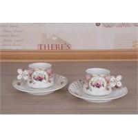 LoveQ Gül Serisi Porselen Çift Kişilik Kahve Fincanı 147283P