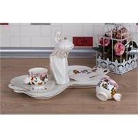 LoveQ Kelebek Serisi Lokumcu Kız Porselen Çift Kişilik Kahve Fincanı 147291G