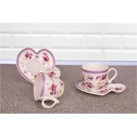 LoveQ Gül Serisi Porselen Çift Kişilik İkramlık Kahve Keyif Fincanı 146687