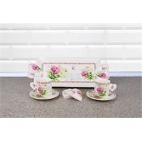LoveQ Kelebek Serisi Porselen Çift Kişilik İkramlık Kahve Keyif Fincanı 146693