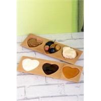 LoveQ 2'Li 3 Bölmeli Lüx Bambu Kalp Şekilli Sosluk