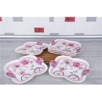 LoveQ Bahar Serisi Porselen 6'Lı Pasta Tabağı