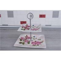 LoveQ Gül Serisi Lux Porselen 2 Katlı Kurabiyelik 147301