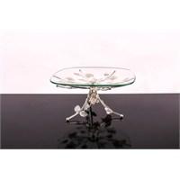 LoveQ Lux Gümüş Cam Ayaklı Meyvelik 146933