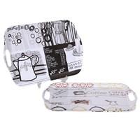 Bosphorus Kahve Desenli Mutfak 2'Li Tepsi Set